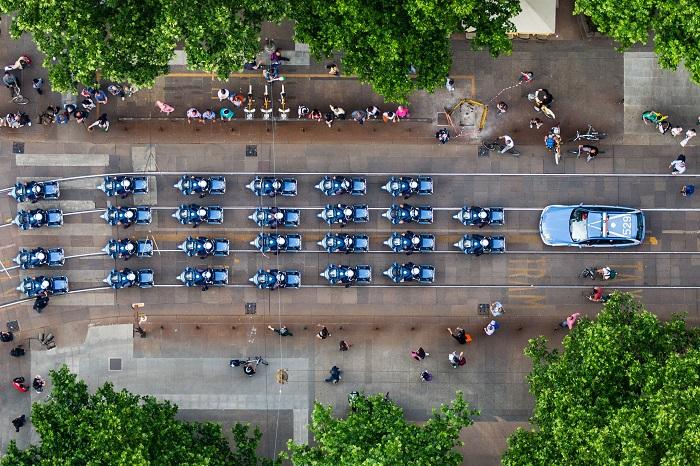 Milano, Polizia stradale al termine del Giro d'Italia